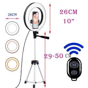 10inch Photo Ringlight Led Selfie Ring Light Phone Tripod Holder Bluetooth Remote Lamp Photography Lighting Youtube Live-electronic-betahavit-China-Silver50CMtripod-betahavit