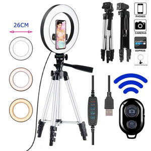 10inch Photo Ringlight Led Selfie Ring Light Phone Tripod Holder Bluetooth Remote Lamp Photography Lighting Youtube Live-electronic-betahavit-betahavit