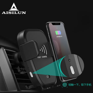 10w car phone holder 10w qi wireless charger for iPhone X Samsung S10 S9 S8 phone holder car phone power charger in air vent-electronic-betahavit-Black-betahavit