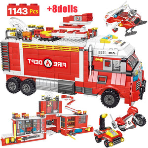 1143pcs City Police Firefighter Figure Building Blocks Compatible City Fire Truck Car Helicopter Bricks Toy for Children-toys-betahavit-no original box-betahavit