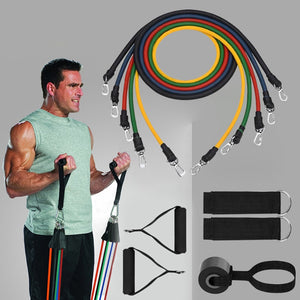 11pcs Resistance Bands set Expander Elastic Rubber Pull Rope Bands Gym Home Fitness Equipment Muscle Training-outdoor-betahavit-White-China-betahavit