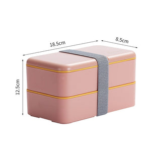 1200ml Double Layers Lunch Box With Spoon Fashion Portable Microwave Bento Box Healthy Plastic Food Storage Container Lunchbox-home-betahavit-Pink-1200ml-betahavit