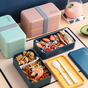 1200ml Double Layers Lunch Box With Spoon Fashion Portable Microwave Bento Box Healthy Plastic Food Storage Container Lunchbox-home-betahavit-betahavit