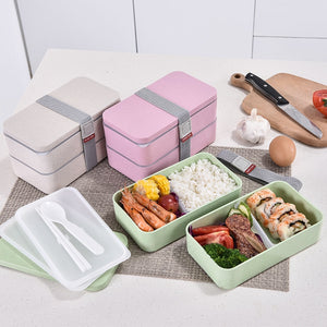 1200ml Wheat Straw Double Layers Lunch Box With Spoon Healthy Material Bento Boxes Microwave Food Storage Container Lunchbox-home-betahavit-betahavit