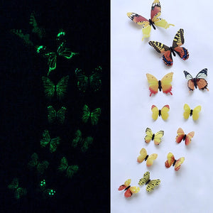 12Pcs Luminous 3D Butterfly Home Decor Fashion Glow Wall Stickers for Bedroom Living Room Colorful Butterflies Room Decoration-home-betahavit-Yellow-betahavit