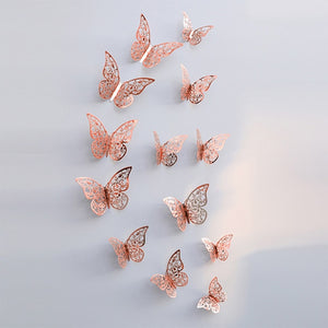 12Pcs/lot 3D Hollow Golden Silver Butterfly Wall Stickers Art Home Decorations Wall Decals for Party Wedding Display Butterflies-home-betahavit-C-rose gold-betahavit