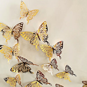 12Pcs/lot New 3D Hollow Golden Silver Butterfly Wall Stickers Art Home Decorations Wall Decals for Party Wedding Display Shop-home-betahavit-D-gold-betahavit