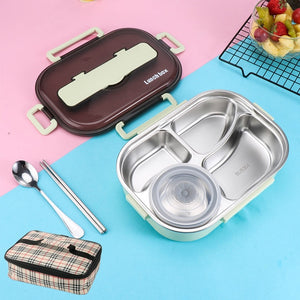 1300ml Stainless Steel 304 Lunch Box With Soup Bowl Leak-Proof Bento Box Dinnerware Set Microwave Adult Student Food Container-home-betahavit-Green with Bag-betahavit