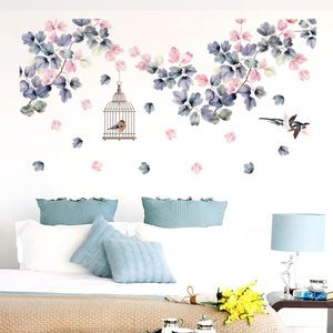 139*71cm Flowers Wall Stickers Bed Decoration Birdcage Home Decor PVC DIY Vinyl Wall Decals for Bedroom TV Sofa Laday Gifts-home-betahavit-01-betahavit