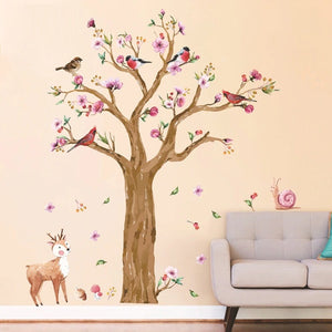 145*170cm Cartoon Animals Tree Wall Sticker for Kids Room Hand Painted Watercolor Birds Deer Wallpapers Lovely Flower Wall Decal-home-betahavit-betahavit