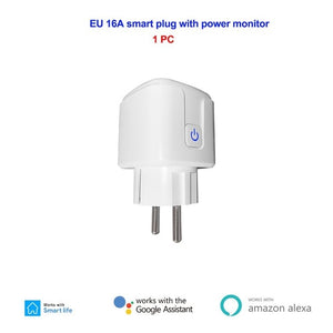 16A EU Smart Wifi Power Plug with Power Monitor Smart Home Wifi Wireless Socket Outlet Works with Alexa Google Home App-home-betahavit-1 Pc-betahavit