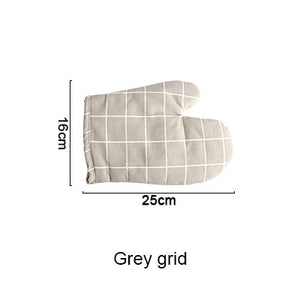 1PC Heat Resistant Microwave Oven Glove Non-slip Insulated Cotton Mitts Pot Bowl Holder Kitchen Cooking Baking Tools-home-betahavit-grey grid-betahavit
