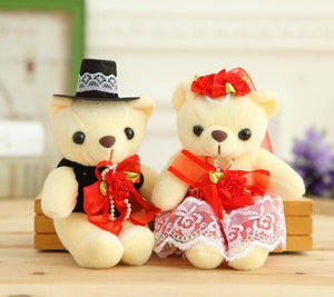 1pair 15cm Hot Selling Item Couple Bears Wedding Bears Wedding Gifts Soft Doll kawaii Toy Brinquedos For Kid-toys-betahavit-Red-betahavit