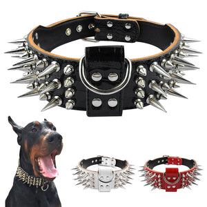 "2.0"" Wide Luxurious Leather Dog Collar Sharp Spike Studded Dog Collars for Rottweiler Pitbull Large X-Large Training Dogs-home-betahavit-betahavit"