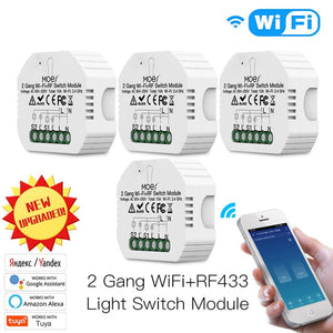 2 Gang 2 Way Wifi Smart Light Switch Diy Breaker Module Smart Life/Tuya APP Remote Control,Working with Alexa Echo Google Home-home-betahavit-4 PCS-China-betahavit
