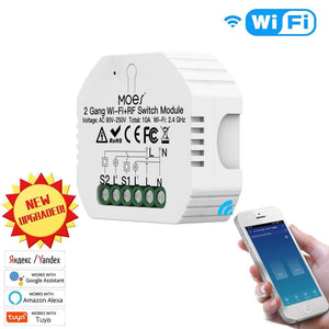 2 Gang 2 Way Wifi Smart Light Switch Diy Breaker Module Smart Life/Tuya APP Remote Control,Working with Alexa Echo Google Home-home-betahavit-betahavit