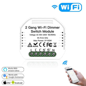 2 Gang DIY WiFi Smart 2 Way Light LED Dimmer Module Switch Smart Life/Tuya APP Remote Control Work with Alexa Google Home-home-betahavit-3 PCs-China-betahavit