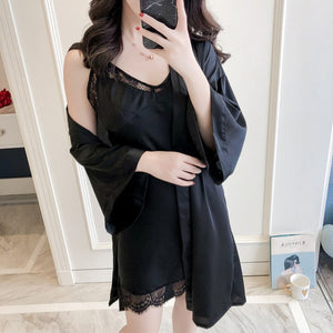 2 Pcs Lace Sexy Women Robe Set High Quality Night Skirt Robe Twinset Bathrobe With Chest Fashion Sleepwear-home-betahavit-black-M-betahavit
