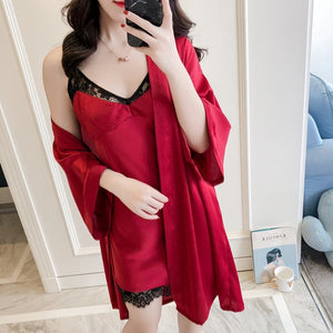 2 Pcs Lace Sexy Women Robe Set High Quality Night Skirt Robe Twinset Bathrobe With Chest Fashion Sleepwear-home-betahavit-claret-red-L-betahavit