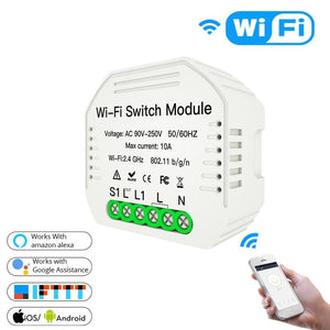 2 Way Mini Wifi Smart Light Switch Diy Module Smart Life/Tuya APP Wireless Remote Control Works with Alexa Echo Google Home-home-betahavit-2 PCs-China-betahavit