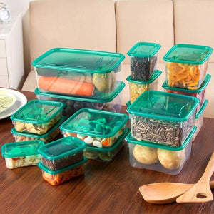 20pcs/Set Moistureproof Kitchen Storage Box Sealing Food Preservation Plastic Fresh Pot Container Transparent Sealed Crisper Set-home-betahavit-17pcs-betahavit