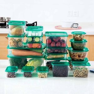 20pcs/Set Moistureproof Kitchen Storage Box Sealing Food Preservation Plastic Fresh Pot Container Transparent Sealed Crisper Set-home-betahavit-20pcs-betahavit