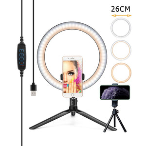 26/16CM Photography Lighting Phone Ring Light Tripod Stand Photo Led Selfie Bluetooth remote Ring Light Lamp Fill Youtube Live-electronic-betahavit-betahavit
