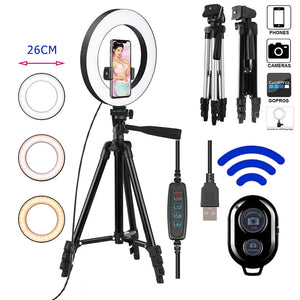 26cm Photo Ring Light Led Selfie Ring Light Phone Bluetooth Remote Lamp Photography Lighting Tripod Holder Youtube Video-electronic-betahavit-betahavit