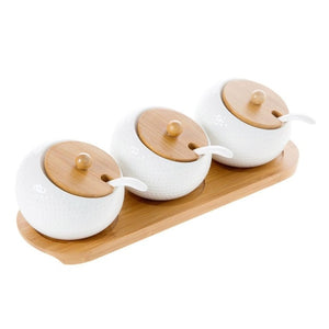3PCS Ceramic Condiments Jar Set Kitchen Seasoning Box Wooden Tray Spice Jar Soy Sauce Pot Salt Sugar Single Can Seasoning Tool-home-betahavit-B-betahavit