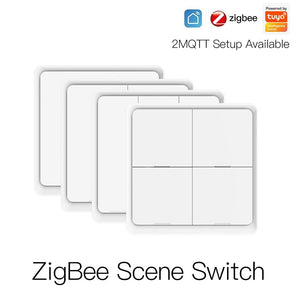 4 Gang Tuya ZigBee Wireless 12 Scene Switch Push Button Controller By battery 2MQTT Setup Automation Scenario for Devices-home-betahavit-betahavit