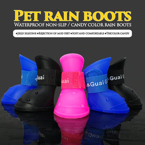4Pcs/set Dog Rain Shoes Pet Dog Booties Rubber Anti Slip Waterproof Dog Cat Rain Shoes for Small Dogs Chihuahua Yorkshires-home-betahavit-betahavit