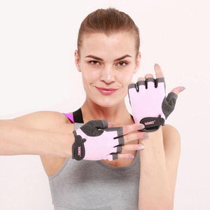 Half Finger Gym Gloves Fitness Glove Unisex Adult Wrist Weightlifting Gear Exercise for Men & Women-outdoor-betahavit-Pink-M-betahavit