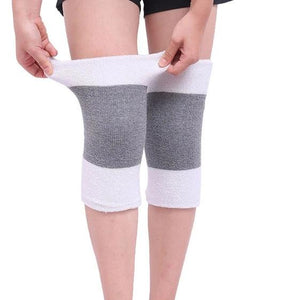 1 Pair Winter Warm Knee Brace Elastic Arthritis Knee Pads Carpal Tunnel Knee Support-outdoor-betahavit-White with grey-betahavit