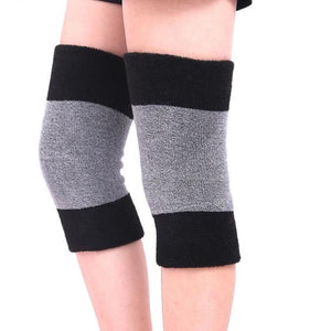 1 Pair Winter Warm Knee Brace Elastic Arthritis Knee Pads Carpal Tunnel Knee Support-outdoor-betahavit-Black with grey-betahavit