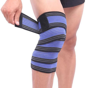 1PCS Elastic Bandage Tape Sport Knee Support Strap Shin Guard Compression Protector For Ankle Leg Wrist Wrap-outdoor-betahavit-Black with Blue-180cm-betahavit