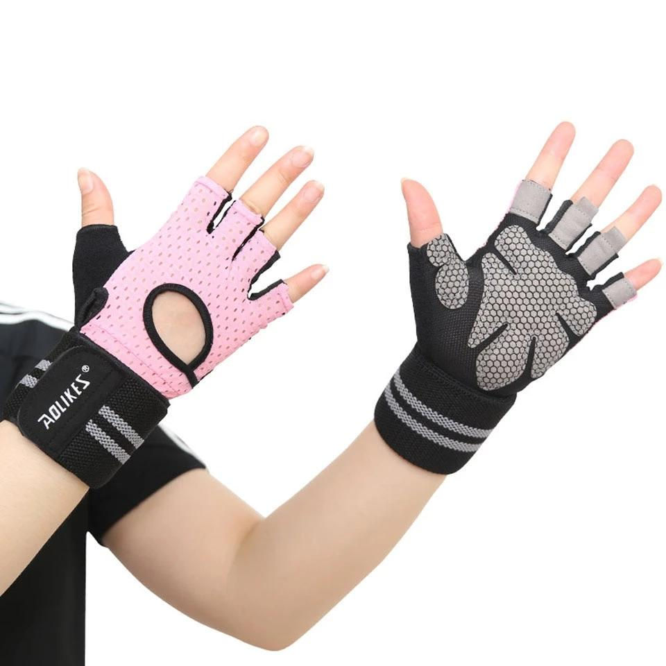Men Women Sport Cycling Half Finger Gloves Gym Weight Lifting Wrist Wrap M-XL
