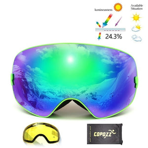 Brand Ski Goggles Double Lens UV400 Anti Fog Unisex Snowboard Ski Glasses With Night Vision Ski Lens Snow Eyewear Adult-outdoor-betahavit-Frame green 175-betahavit