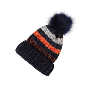Fur Ball Cap Pompom Winter Hat for Women Girl 's Hat Knitted Beanies Cap Skiing Casual Thick Warm Female Cap-outdoor-betahavit-dark blue-betahavit