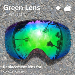 GOG-201 lens Ski Goggles Lens Anti-fog UV400 Big Spherical Ski Glasses Snow Goggles Eyewear Lenses Replacement(Lens Only)-outdoor-betahavit-lense green-betahavit