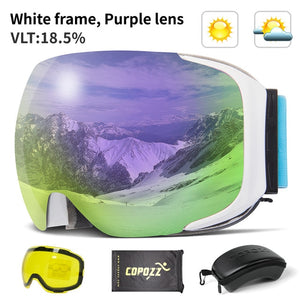 Magnetic Ski Goggles with Quick-change Lens and Case Set 100% UV400 Protection Anti-fog Snowboard Goggles for Men & Women-outdoor-betahavit-Purple Lens-China-betahavit