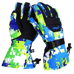 Men women boy girl chidren kids ski gloves Snowboard Gloves Motorcycle Winter Skiing Climbing Waterproof Snow Gloves-outdoor-betahavit-Green-S-China-betahavit