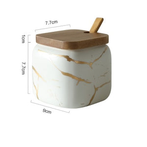 Creative Nordic Style Marble Pattern Ceramic Kitchen Seasoning Tank Set Wooden Cover Salt Shaker Spice Jar Kitchen Accessories-home-betahavit-White 1pcs-betahavit