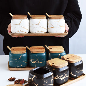 Creative Nordic Style Marble Pattern Ceramic Kitchen Seasoning Tank Set Wooden Cover Salt Shaker Spice Jar Kitchen Accessories-home-betahavit-betahavit
