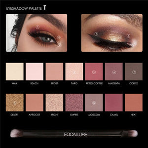 14 Colors Eye Shadow Palette Matte Glitter High Pigment Hot in ins Palette Eyeshadow with Brush Eyes Makeup Eyeshadow-beauty-betahavit-49T 201659811-CHINA-betahavit