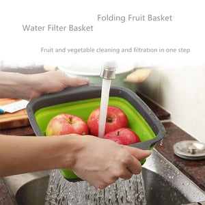 Foldable Fruit Vegetable Washing Basket StrainerSilicone Colander Collapsible Drainer With Handle Kitchen Tools-home-betahavit-betahavit