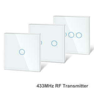 433Mhz RF Touch Remote Controller Tempered Glass Panel Wireless Wall RF Transmitter 1/2/3 Gang Works with 433Mhz Receiver-home-betahavit-betahavit