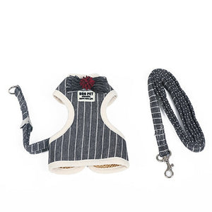 Adjustable Small Pet Dog Cat Harness with Leash Square Stripes Cute Puppy Soft Vest Harness-home-betahavit-Bow tie black-L-betahavit