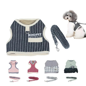 Adjustable Small Pet Dog Cat Harness with Leash Square Stripes Cute Puppy Soft Vest Harness-home-betahavit-betahavit