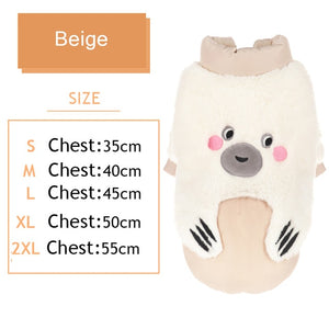 Autumn/Winter Pet Dog Warm Clothes Cat Cute Bear Costume Two Feet Soft Coat-home-betahavit-Beige-XXL-betahavit