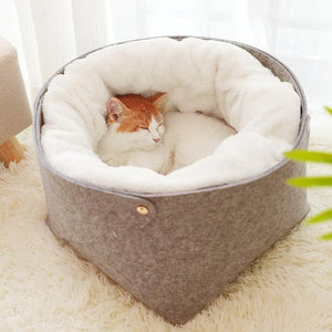 Cat Basket Pet Dog Bed for Cat Warm Bed Dogs Houses for Cats Pets Products House for Cat Puppy Soft Comfortable House-home-betahavit-Gray-M 33x33x26cm-betahavit